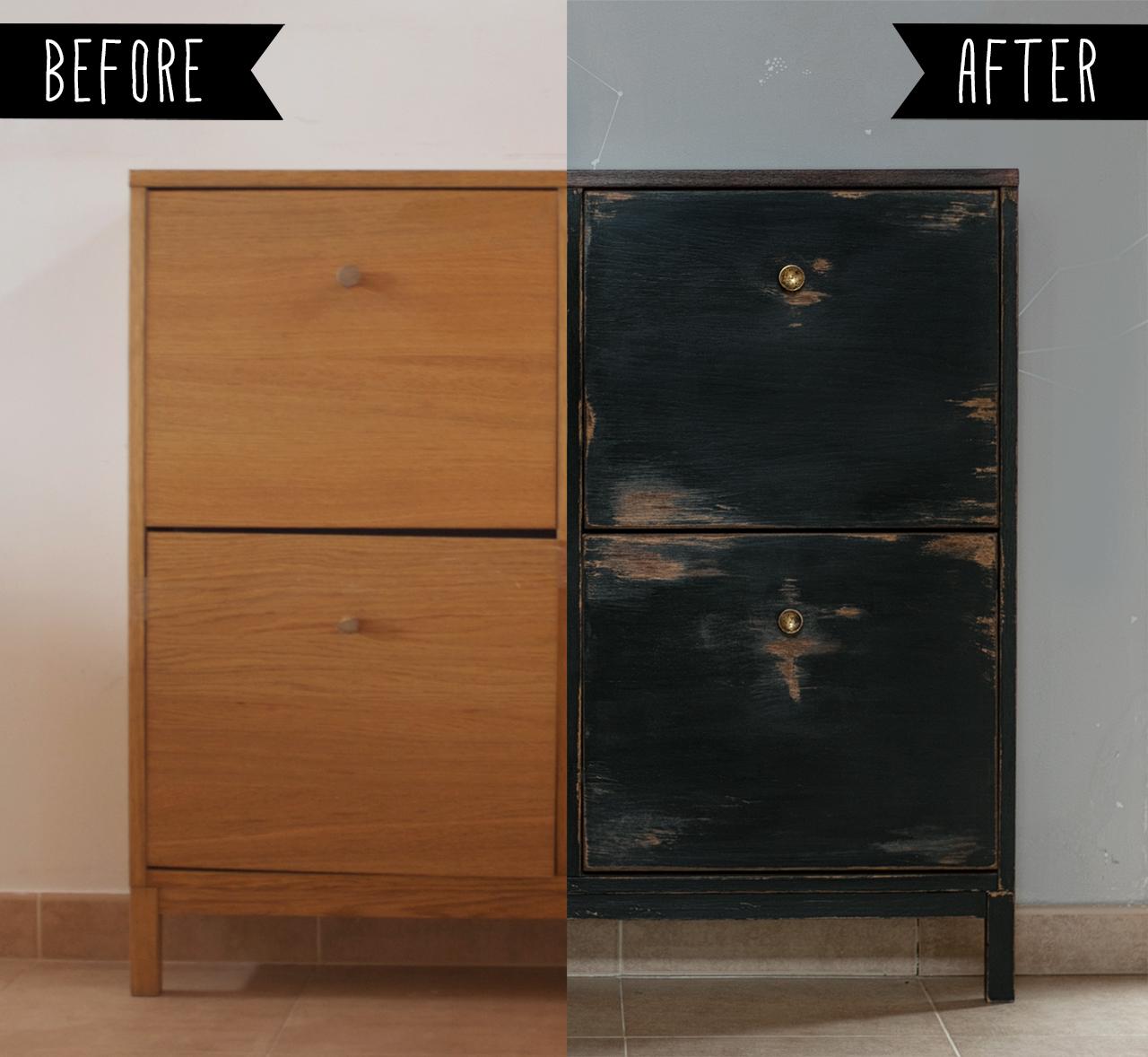 Antes y despu s de un mueble zapatero de chapa for Mueble zapatero negro