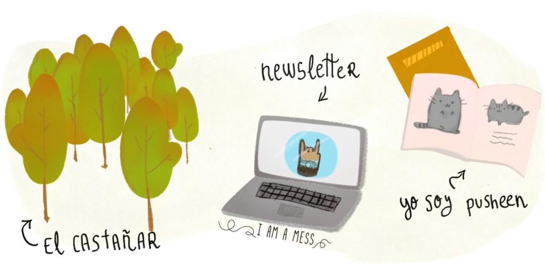 excusas ilustradas, castañas, newsletter y pusheen