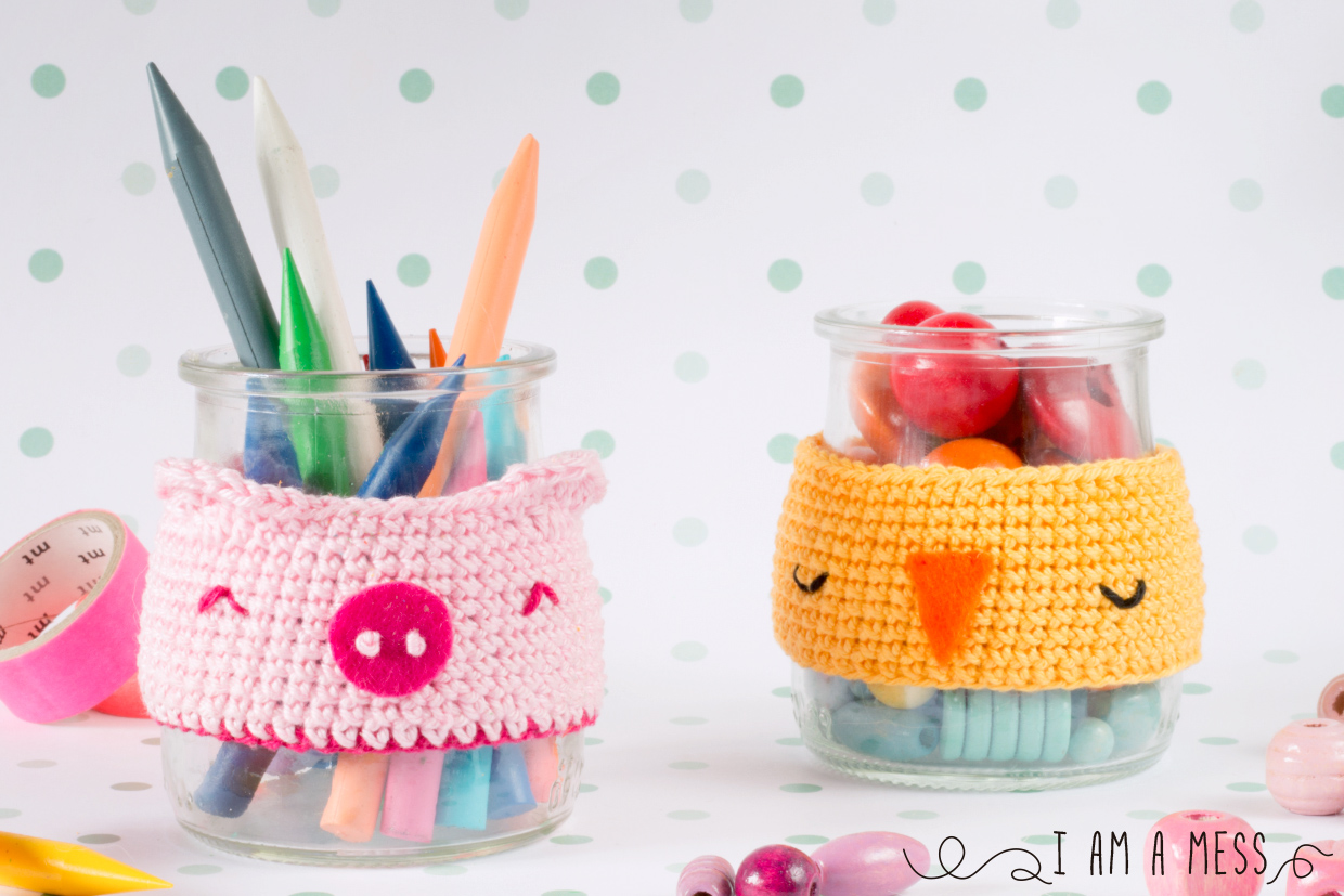 "DIY crochet animal jar cosy by ""I am aMess"""