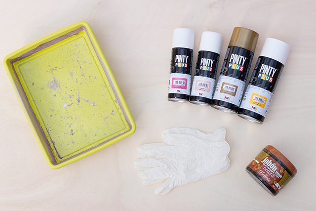 materiales DIY marmolado con spray
