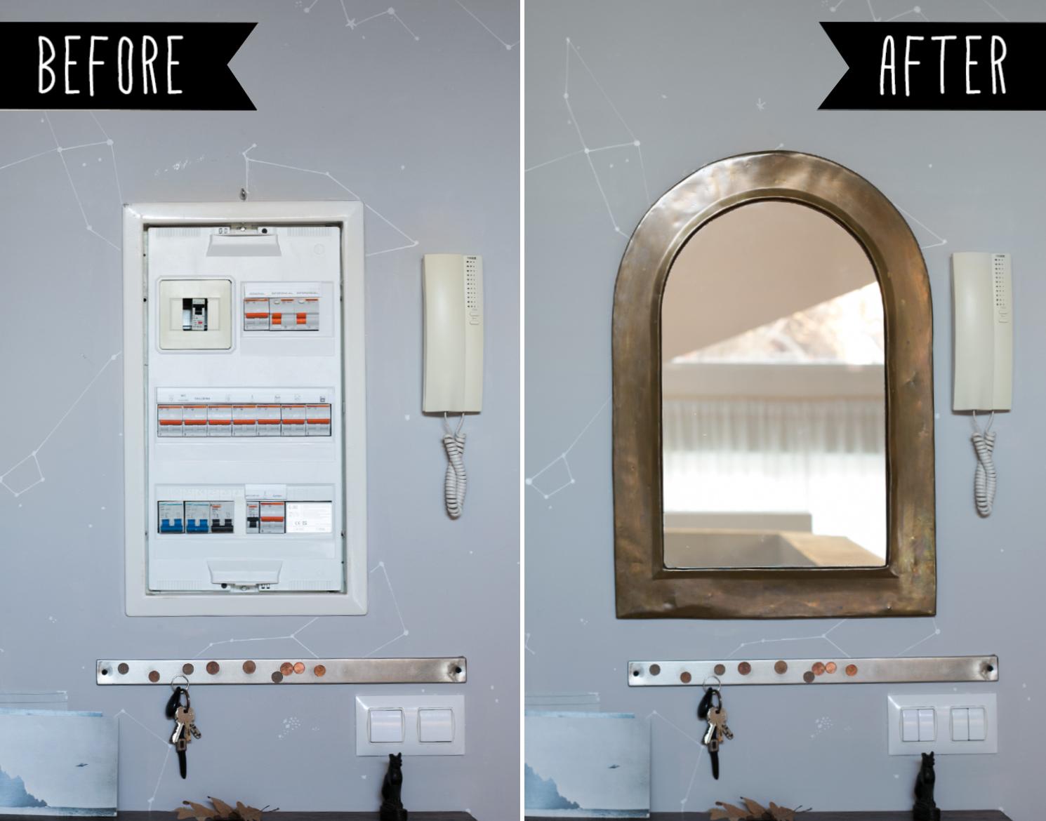 before after, Tapar el cuadro de la luz con un espejo