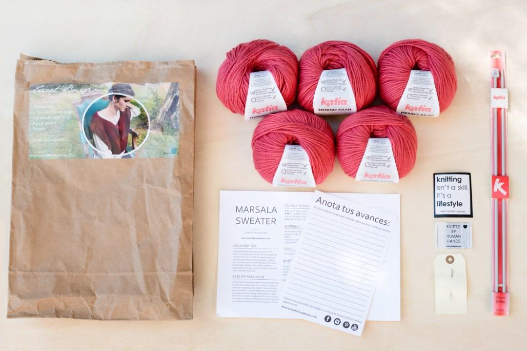 Marsala Sweater, kit de Entre fils i madeixes, kit despegado