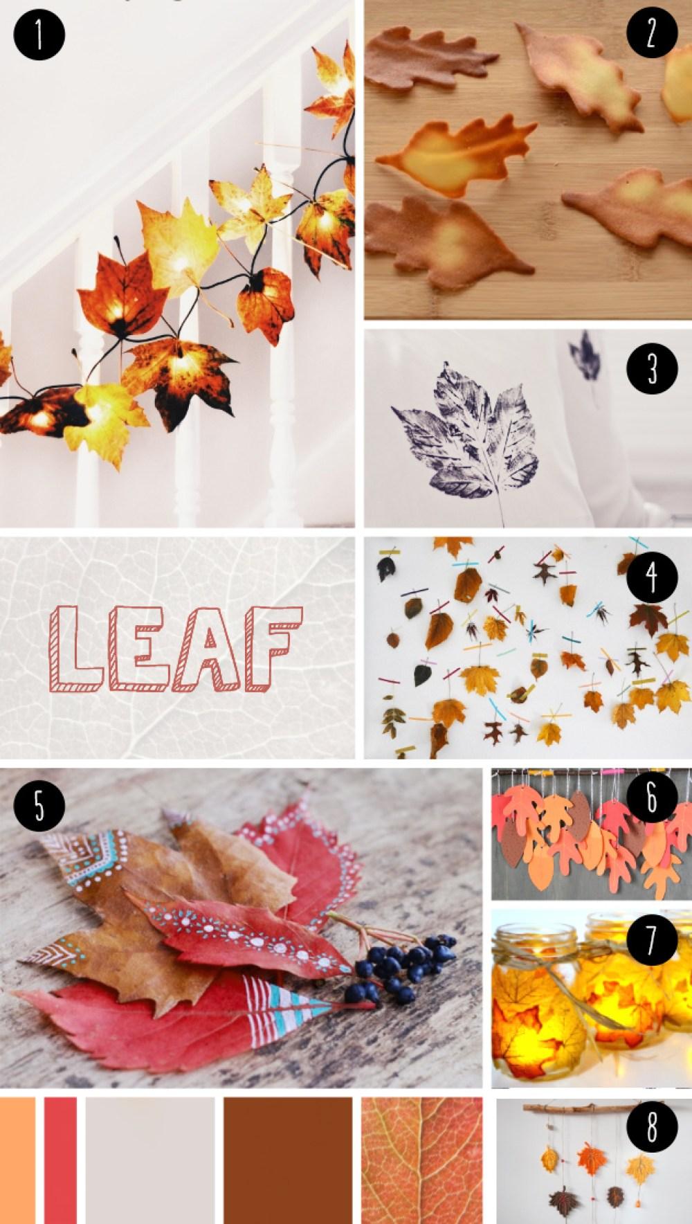 """8 DIY con hojas secas, visto en """"IamaMessBlog"""""""