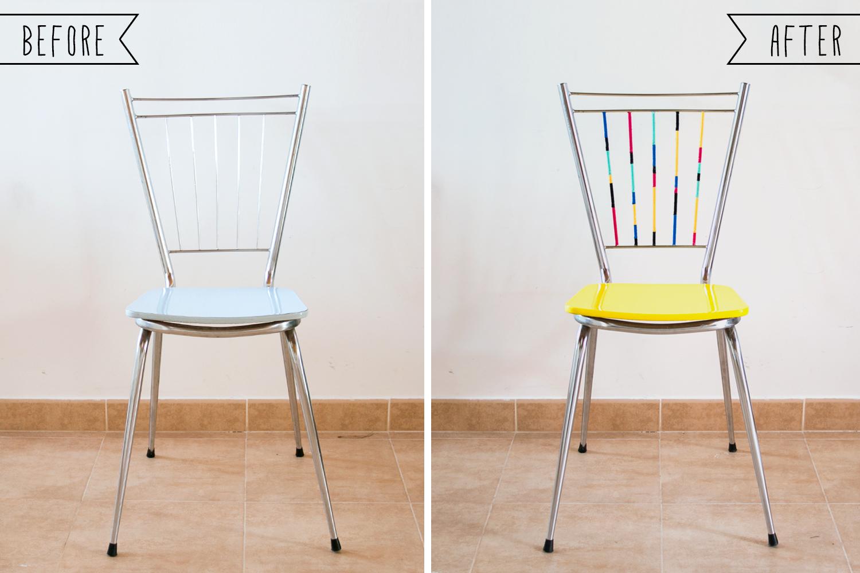 antes y después de una silla amarilla