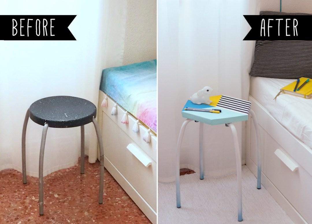 """Antes y Después de un taburete renovado, visto en """"I am a Mess Blog"""""""