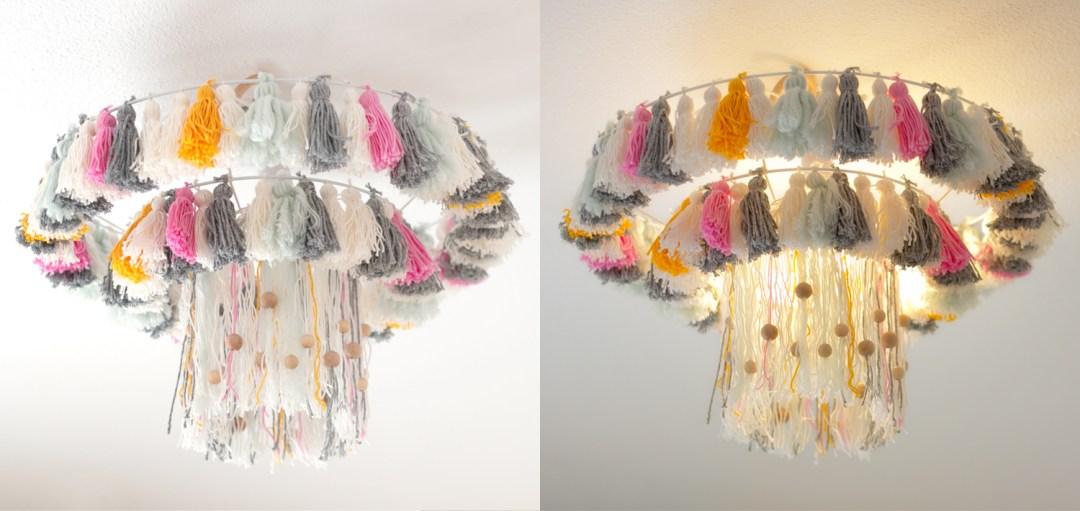 """lampara con borlas DIY, visto en """"I am a Mess Blog"""""""