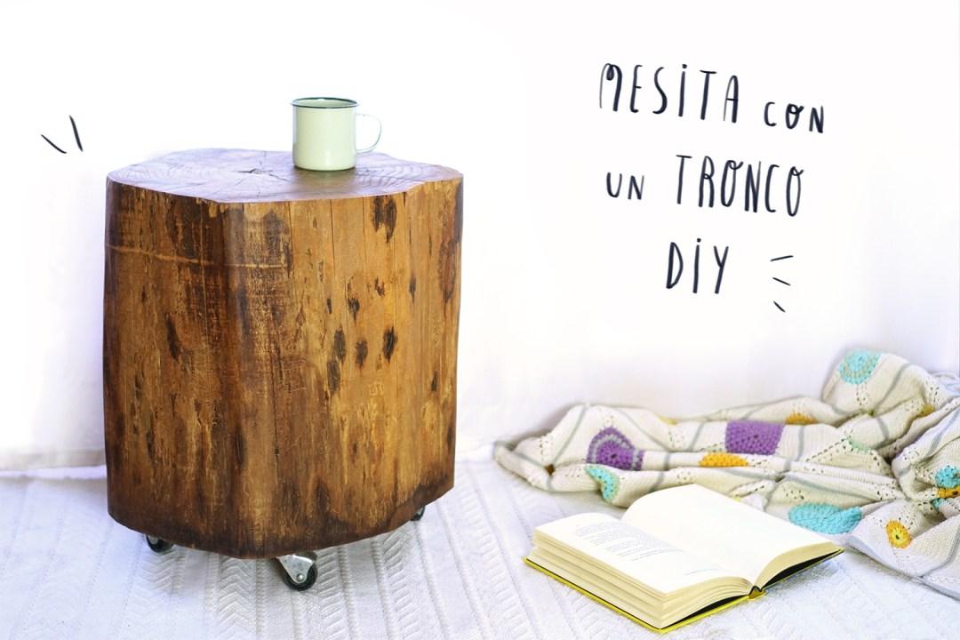 La naturaleza en casa: mesa con un tronco