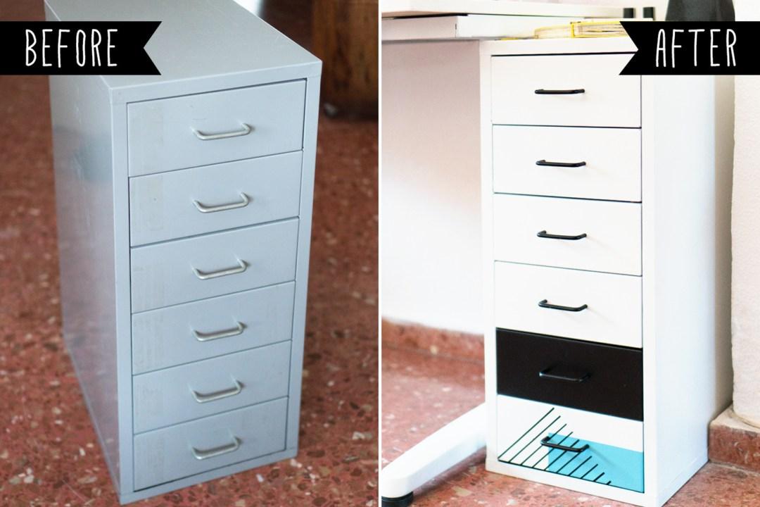 "Antes y después de la cajonera Helmer de Ikea, Ikea Hack visto en ""I am a Mess Blog"""