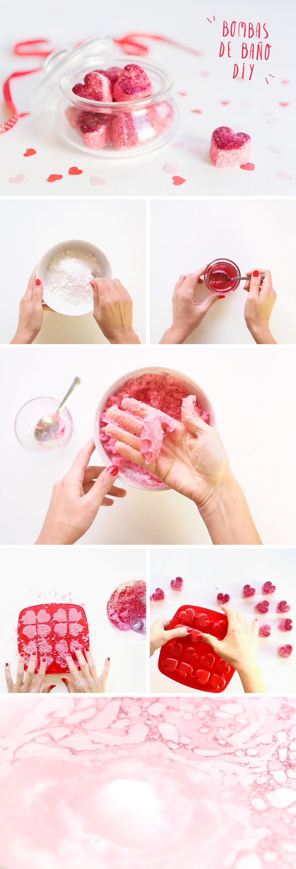 """Cómo hacer bombas de baño efervescentes ¡versión San Valentín! Viso en """"I am a Mess Blog"""""""