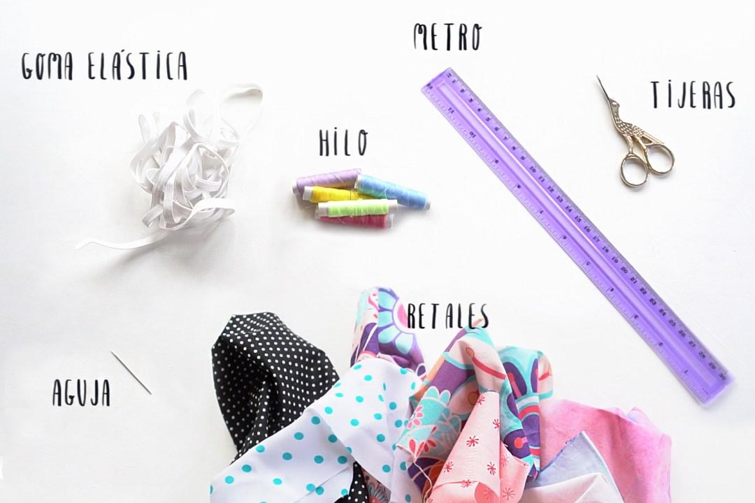 """Materiales para hacer coleteros de tela DIY paso a paso, visto en """"I am a Mess Blog"""""""