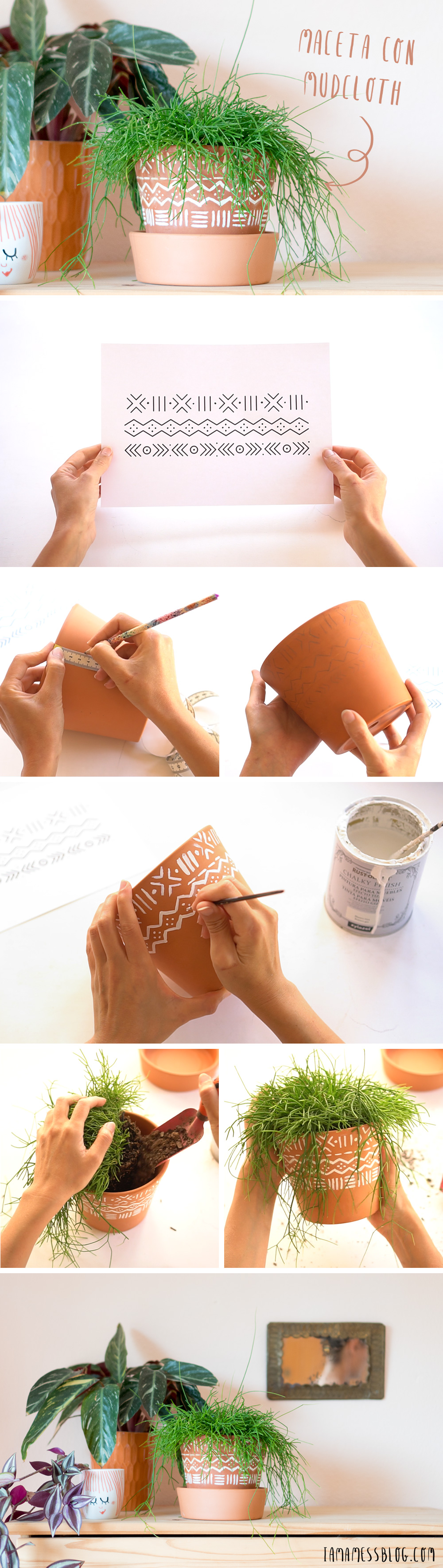Como pintar macetas con estampado mudcloth, visto en