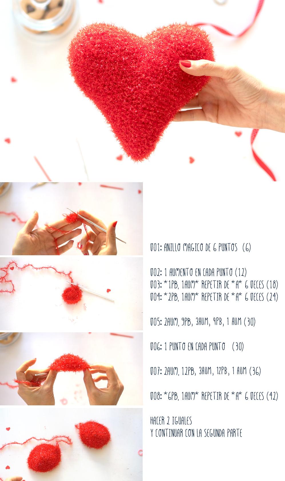 Pasos para hacer un corazón de ganchillo (segunda parte). Visto en IamaMess blog