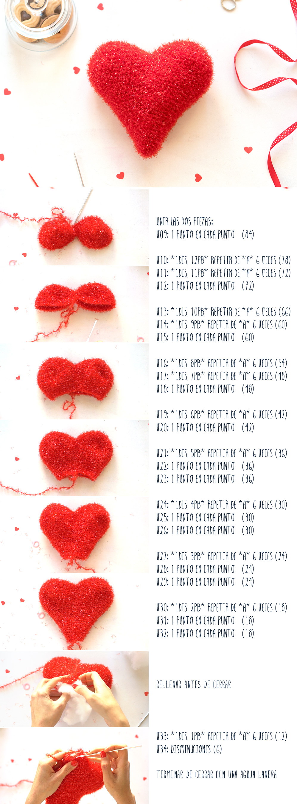 Pasos para hacer un corazón de ganchillo (segunda parte). Visto en