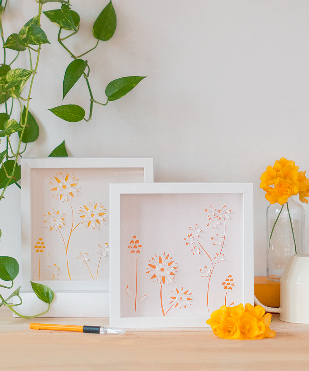 Cuadro con flores de papel