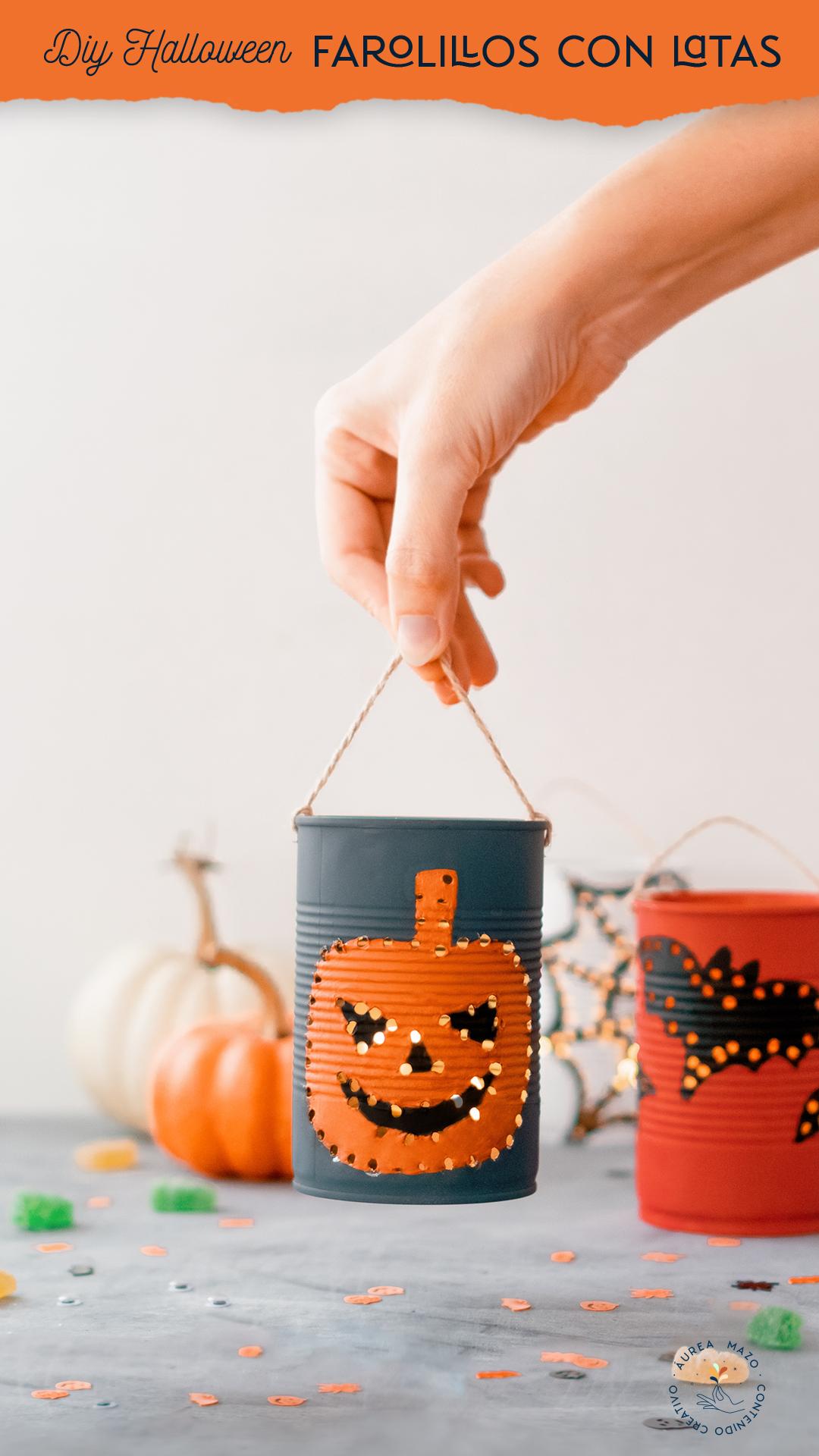 Farolillos de Halloween con latas. Con plantillas para descargar.