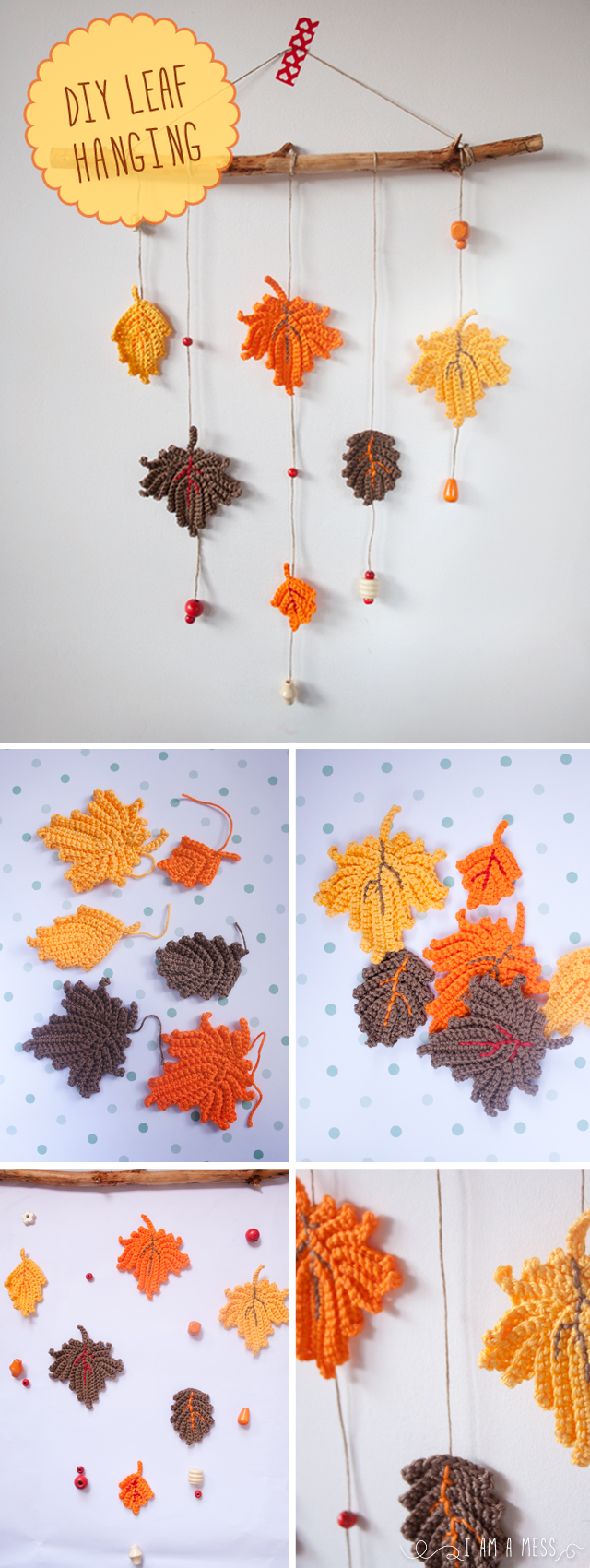 "DIY crochet hanging leafs by ""I am a Mess"""