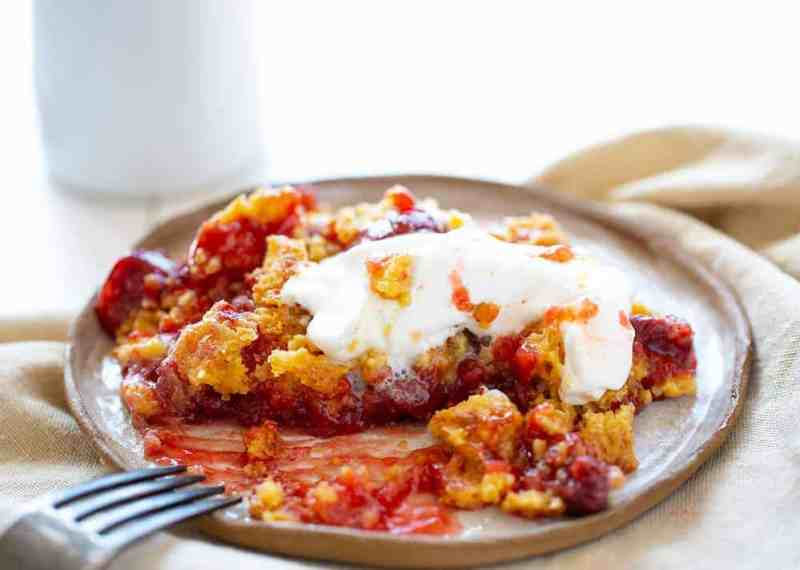 Cherry Dump Cake with Whipped Cream