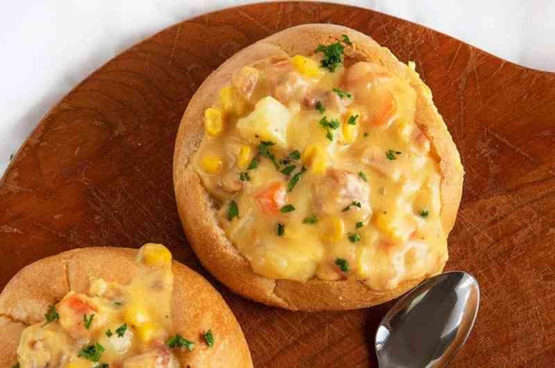 Easy Ham Chowder in a Bread Bowl