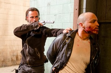 Andrew Lincoln as Rick Grimes and ? - The Walking Dead _ Season 6, Episode 13 - Photo Credit: Gene Page/AMC
