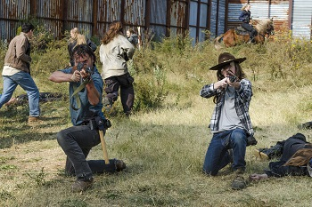 Andrew Lincoln as Rick Grimes, Chandler Riggs as Carl Grimes- The Walking Dead _ Season 7, Episode 16 - Photo Credit: Gene Page/AMC