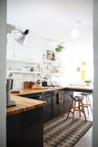 See Painted cupboards and Butcher Block Countertops (from http://www.abeautifulmess.com/2014/09/kitchen-renovation-reveal.html)