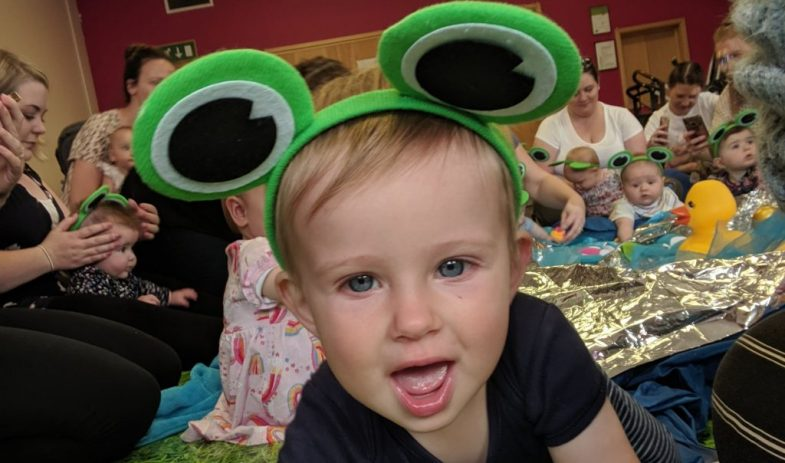 baby with frog ears at hartbeeps