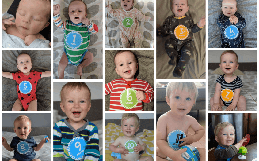 image of baby first year milestone cards