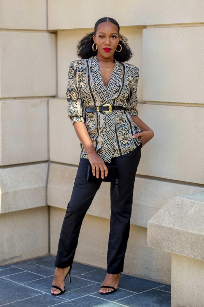 Thrifted Thursdays – Vintage Blazer + Dress Pants + Waist Belt