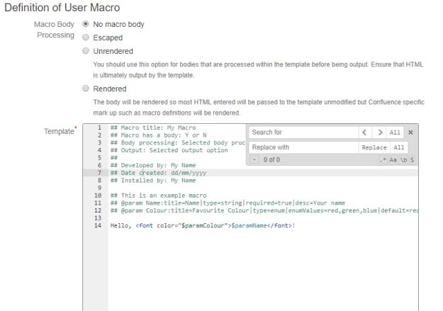 User Macro Template Editor