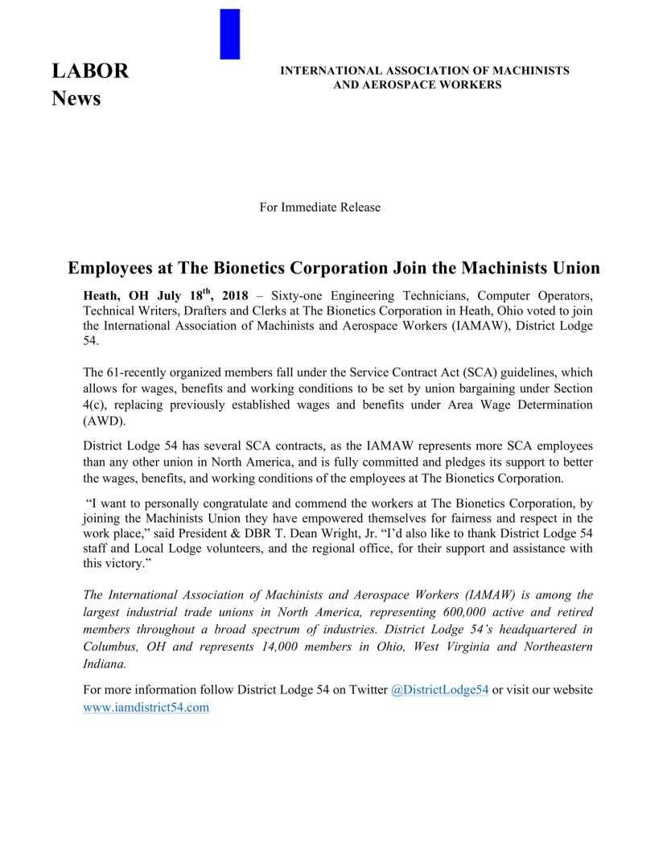 The Bionetics Corporation Press Release-1