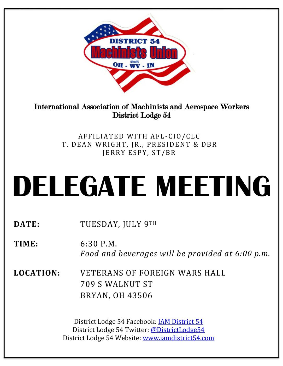 July Delegate Meeting Notice