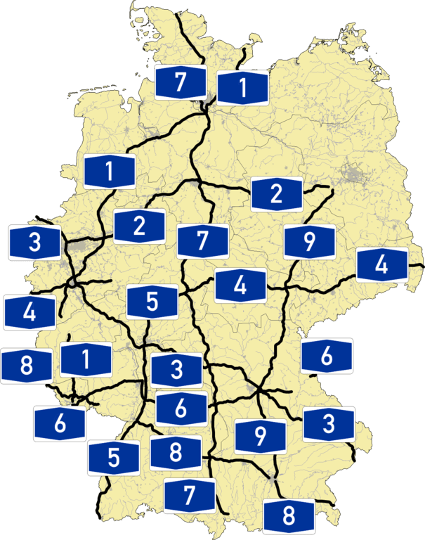 Autobahn Germany Map : autobahn, germany, German, Autobahn, Driving, Germany