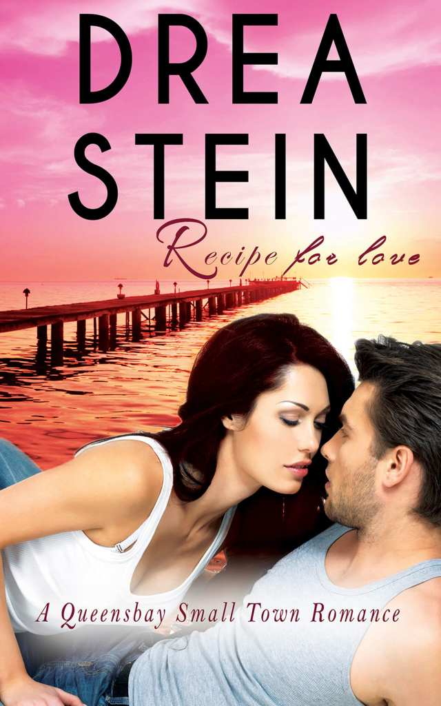 Recipe for love book cover design Iamgonegirldesigns ocean beach water waves sunset beautiful pink blue sky woman beautiful handsome man kiss romantic scene