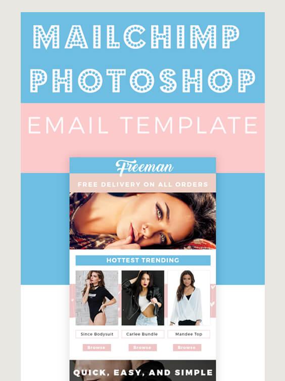 mailchimp photoshop freeman fashion models pink blue GoneGirl Designs