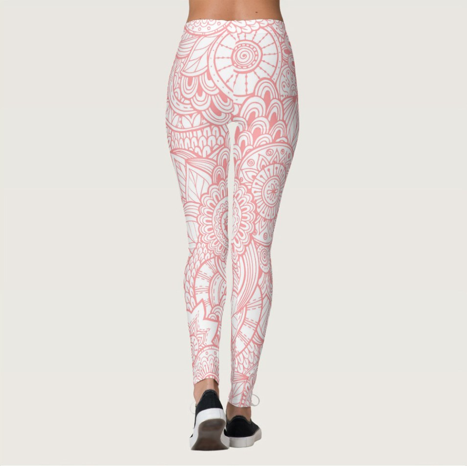 Abstract Floral Pink and White Leggings