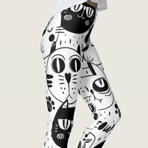 meow leggings black and white cat kittens pretty women