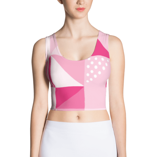 Pretty Geometric Women's Crop tops Pink and White