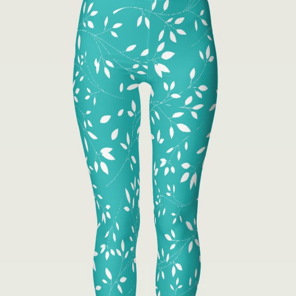 Baby Blue and White Floral Leaf Leggings