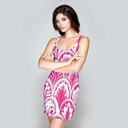pretty abstract feathered hearts pink dress