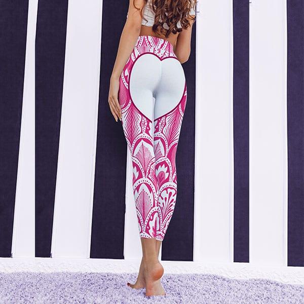 heart shaped premium pink leggings