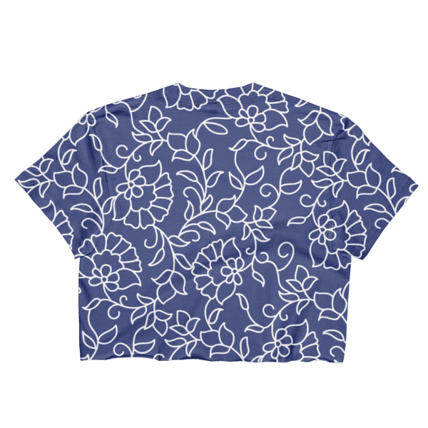 Blue and White Floral Pattern Loose Crop Top