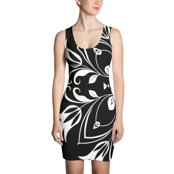 Black and White Floral Butterfly Dress