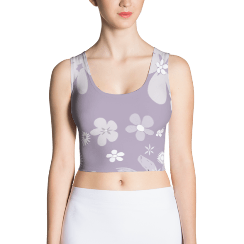 Floral Pale Purple Fitted Crop Top
