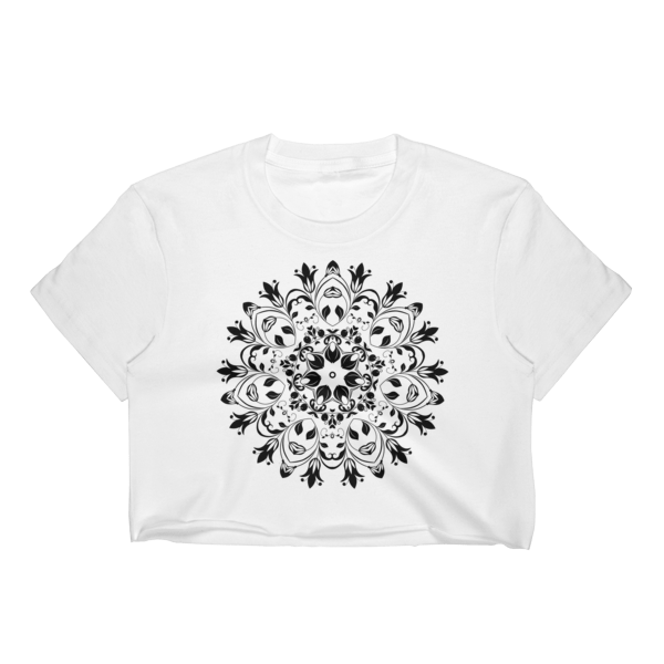 Black and White Ornament Women's Crop Top