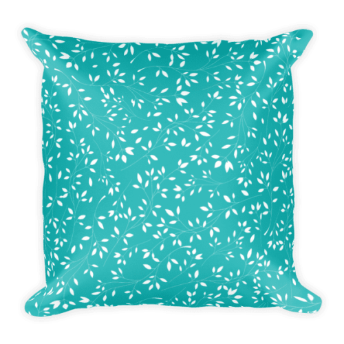Baby Blue and White Floral Leaves Square Pillow