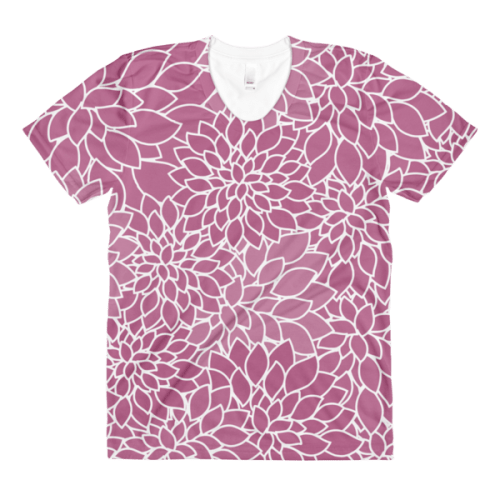 Abstract Leafy Purple women's crew neck t-shirt