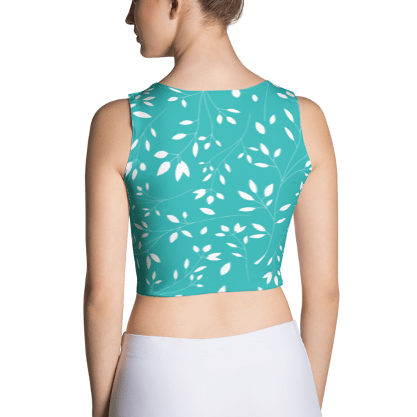 Baby Blue and White Leaf Floral Crop Top