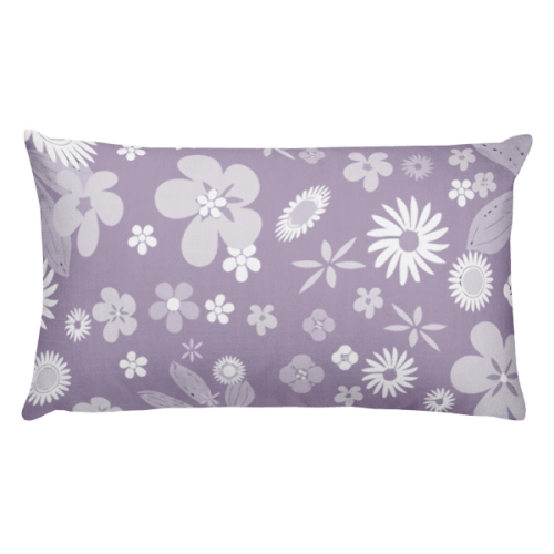 Floral Pale Purple Rectangular Pillow
