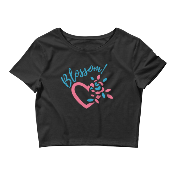 Blossom My Heart Black Women's Crop Tee