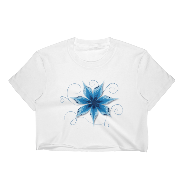 Blue Flower Waves Crop Top